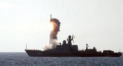 A Russian Navy Buyan-M class corvette firing a Kalibr LACM