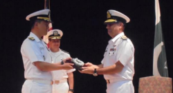 Commodore Muhammad Shuaib accepted the reigns of command from Rear Admiral Nam Dong Woo of the Republic of Korea Navy. Photo credit: Inter Services Public Relations (ISPR)
