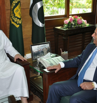 Qatar's Minister of State for Defence Dr. Khalid Bin Mohammad Al Attiyah and Pakistan's Minister of Defence Production Rana Tanveer Hussain. Photo credit: Pakistan Ministry of Defence Production