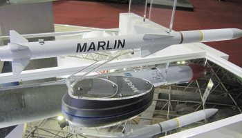 Mock-up of the Denel Marlin technology demonstrator for beyond visual range air-to-air missiles.