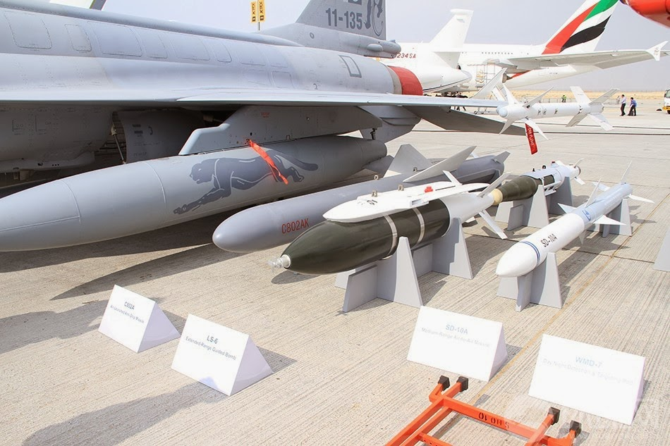 A number of the munitions on offer with the JF-17. From left to right: C-802 AShM, LS-6 (and LS-3 behind it) INS/GPS PGB, SD-10A BVRAAM.