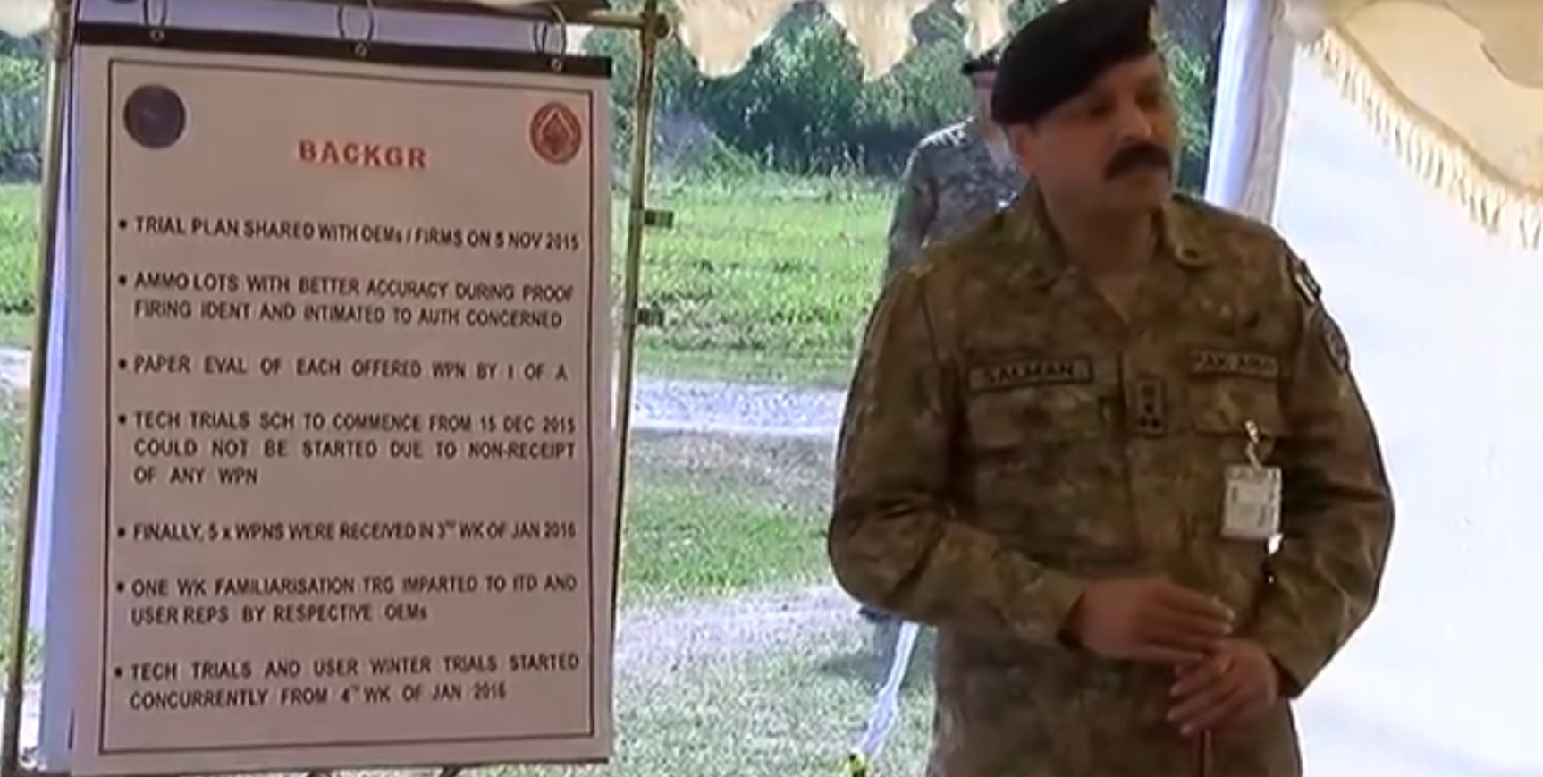 What seems to be a presentation about a new standard rifle program. Photo credit: ISPR