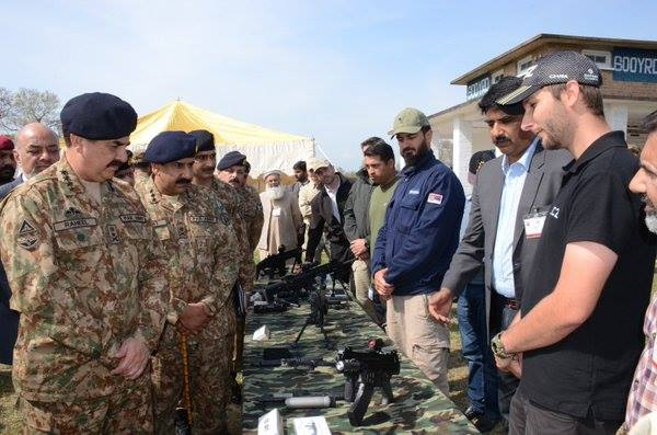 Various assault and battle rifles being presented to COAS General Raheel Sharif at POF. Photo credit: ISPR