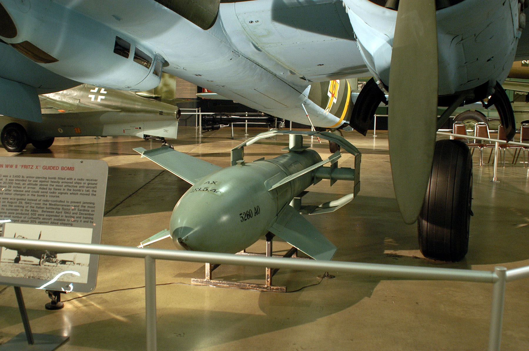 "DAYTON, Ohio -- ""Fritz X"" Guided Bomb on display in the Air Power Gallery at the National Museum of the United States Air Force. (U.S. Air Force photo)"