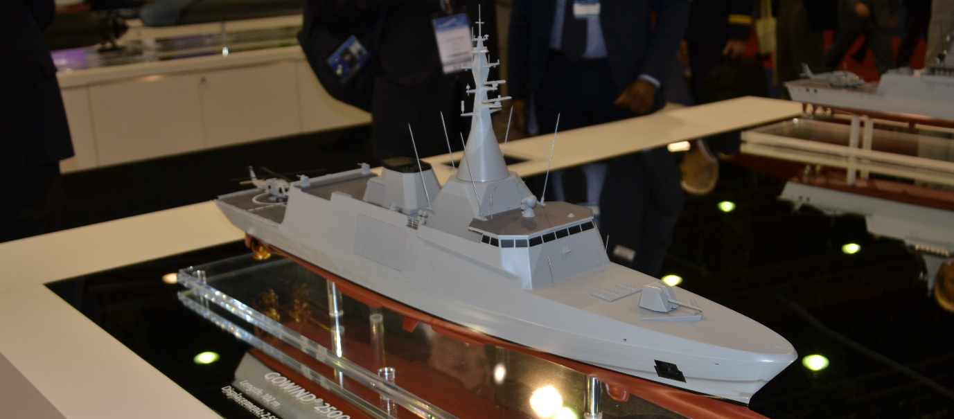 A mock-up of the DCNS Gowind 2500 corvette/light frigate.