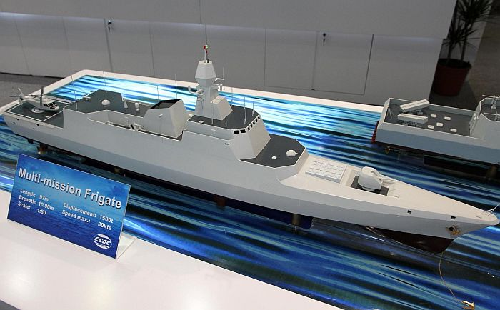 "A ""frigate"" design offered by China Shipbuilding & Offshore International Co. Ltd (CSOC). Given the displacement of the vessel, it would be more accurate to refer to it as a corvette. Should the Pakistan Navy revive its corvette program, a design such as this may be an option."