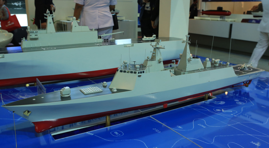 "The China Shipbuilding & Offshore International Co. Ltd (CSOC)'s ""High Performance Frigate"" design mock-up. The ship would have a displacement of 3500 tons and is designed to be equipped with 8 AShM, two triple ASW torpedo launchers, a PDMS battery, 32 VLS cells, and a forward cannon."