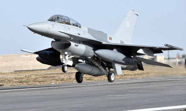 One of six PAF F-16Ds landing at Shahbaz Air Base. The F-16s (C/D and MLU) became pivotal strike and air support assets in Pakistan's COIN campaign. The PAF's F-16s are equipped with Sniper Advanced Targeting Pods (ATP) alongside Paveway LGBs and JDAM PGBs.